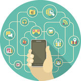 Social Networking by a Smartphone. Conceptual illustration of the social interaction in the network using a smartphone Royalty Free Stock Images
