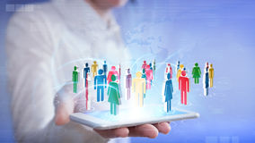 Social networking with smartphone stock image
