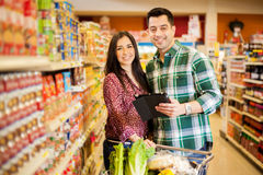 Social networking at a supermarket Stock Photo