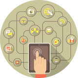 Social Networking by Tablet in Gray Circle vector illustration
