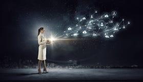 Social Networking-Technologien Gemischte Medien Stockbild