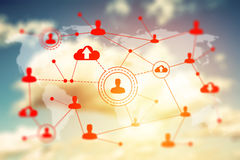 Social networking technologies on a blue sky Royalty Free Stock Images