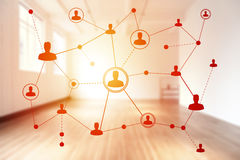 Social networking technologies in a clear white room Royalty Free Stock Images