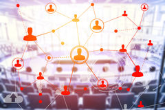 Social networking technologies in a conference hall Stock Images