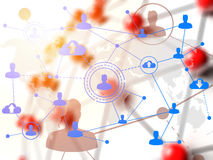 Social networking technologies over red linked sphere Stock Image