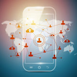 Social networking technologies in a smartphone Stock Photo