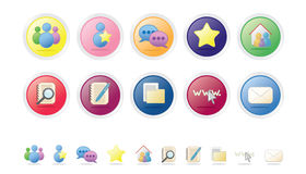 Social & Networking Vector Icon Set. Set of 10 colorful web icons / buttons. Social & networking set. Bubble series Vector Illustration