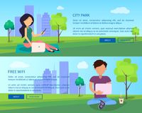 Social Networking Web Banner with Man and Woman. City park web banner with people having fun with digital gadgets. Social networking on fresh air, surfing in Stock Photos