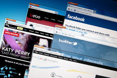 Social networking web sites. Royalty Free Stock Photography
