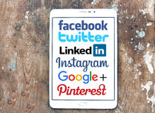 Social networks websites logos and brands Royalty Free Stock Photography