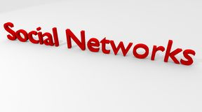 Social Networks. Red colored Social Networks in 3D Royalty Free Stock Photography