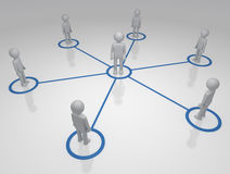 Social Networks. Network of People individuals linked in a circular network Stock Image