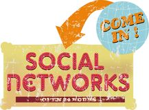 Social networks. Vintage social networks sign grungy style Royalty Free Stock Photos