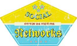 Social networks. Vintage social media enamel sign, grungy,  illustration Stock Photo