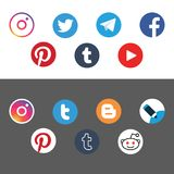 Social networks circle icon flat vector Royalty Free Stock Images