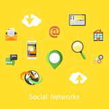 Social networks. Cloud of application icons Stock Photo