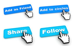 Social Networks Concept - Web Buttons with Hand Stock Photography