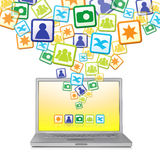 Social Networks explosion. Abstract Social Networks explosion out of laptop, isolated Stock Photography