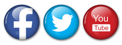 Social networks. Facebook, twitter and you tube Stock Images