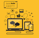 Social Networks Media Online Flat Style Stock Image