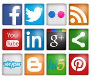 Social networks. Social network icons in white background Royalty Free Stock Photos