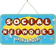 Social networks. Sign, vintage style Royalty Free Stock Photography