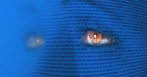 Social media concept. Stylized person's face with the imposition of binary code with reflect the inscription Social Networks in the eyes royalty free stock image