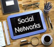 Social Networks - Text on Small Chalkboard. 3D. Social Networks - Text on Small Chalkboard.Social Networks Handwritten on Blue Small Chalkboard. Top View of Stock Photos