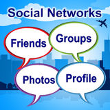 Social Networks Words Shows Blogging Blogs And Internet. Social Networks Words Representing Web Posts And Online Royalty Free Stock Photos