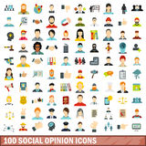 100 social opinion icons set, flat style Royalty Free Stock Images