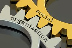 Social Organization concept on the gearwheels, 3D rendering Stock Image