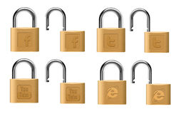 Social padlocks Royalty Free Stock Image