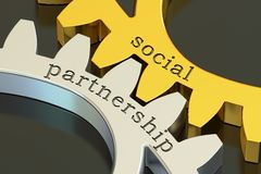 Social Partnership concept on the gearwheels, 3D rendering. Social Partnership concept on the gearwheels, 3D Stock Photos