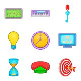 Social pc clouding icon set, cartoon style Royalty Free Stock Images