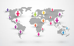 Social people connection world map Stock Photos