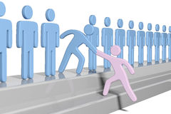 Social people help new member join up. Member gives a hand up to help new person join social group or business team stock illustration