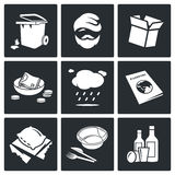 Social phenomenon homeless Vector Icons Set Royalty Free Stock Images