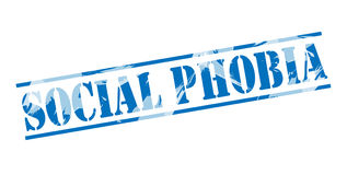 Social phobia blue stamp Royalty Free Stock Photography