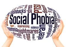 Social phobia and PTSD word cloud hand sphere concept royalty free illustration