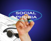 Social phobia. Writing word Social phobia disorder with marker on gradient background made in 2d software Royalty Free Stock Image
