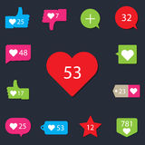 Social pictogram Counter Notification Icons collection stock illustration