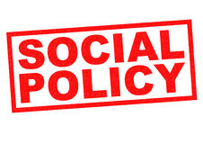 SOCIAL POLICY. Red Rubber Stamp over a white background Royalty Free Stock Photo