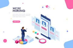 Hiring Employment Recruiting Concept Isometric Vector. Social presentation for employment. Infographic for recruiting. Web recruit resources, choice, research or stock illustration