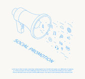 Social promotion thin line design isometric Royalty Free Stock Photos
