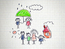The social protection of the family. Kids drawing style Stock Image