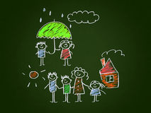 The social protection of the family. Kids drawing style Royalty Free Stock Images