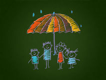 The social protection of the family. Kids drawing style Stock Images