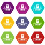 Social protest shield icons set 9 vector. Social protest shield icons 9 set coloful isolated on white for web Stock Images