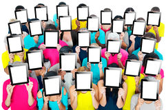 Social recueillant le concept de société de communication de Tablette de Digital Photo stock