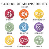 Social Responsibility Outline Icon Set. Drive, growth, integrity, sensitivity, contribution, goals Stock Photo